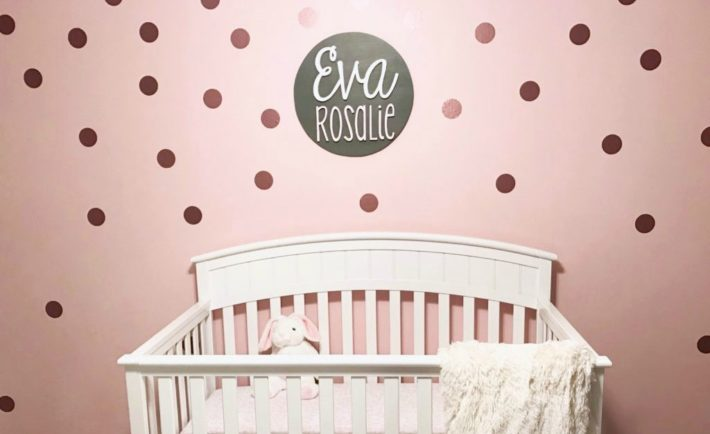 Pink and White Nursery with Rose Gold Polka Dot Wall Decals - Project Nursery