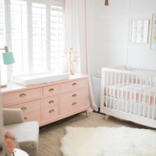 photo of The Posh Home Bright White and Pink Baby Girl Nursery Reveal