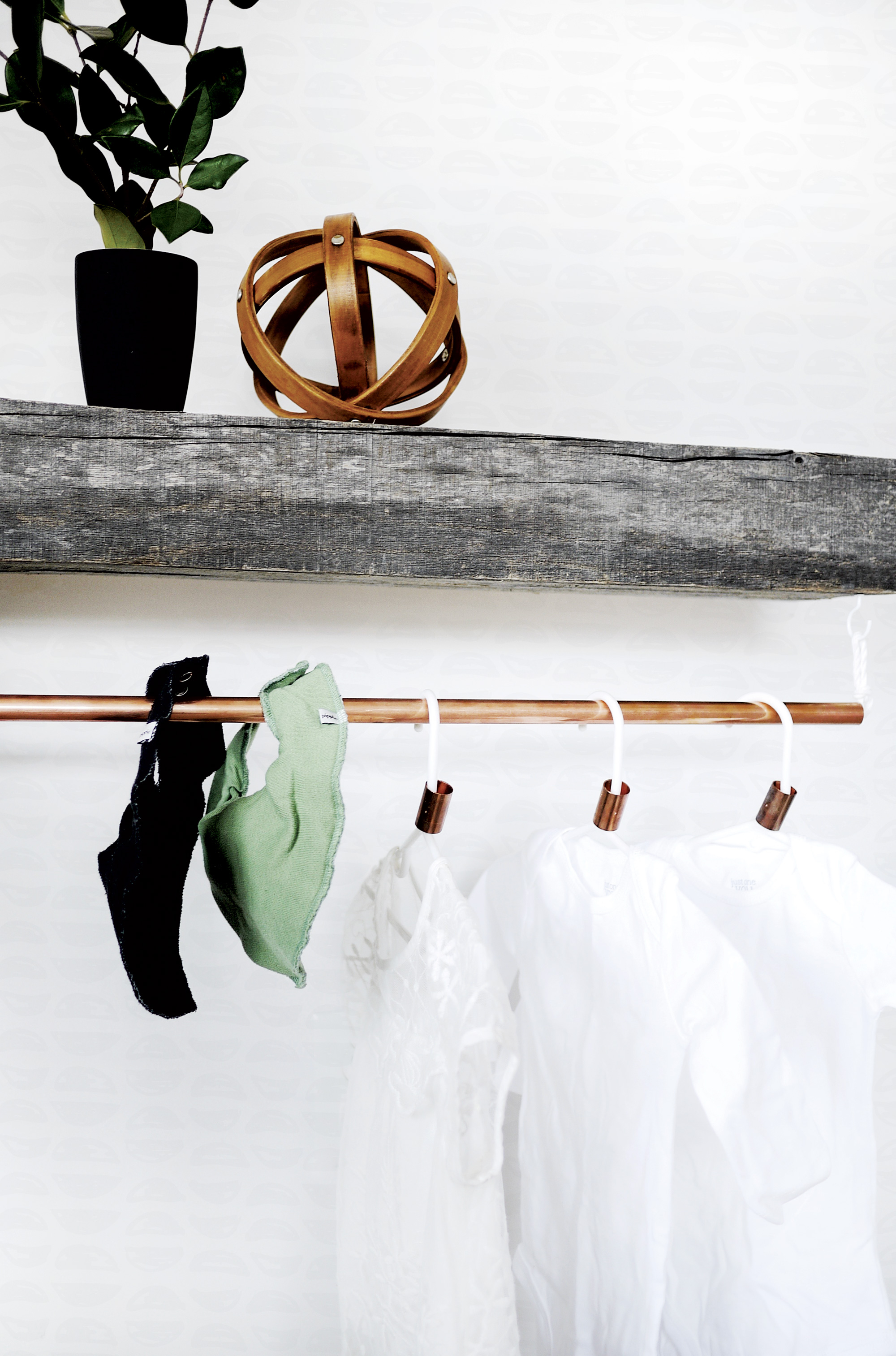 DIY Hanging Rack for the Nursery Copper Pipe DIY Hanging Organizer