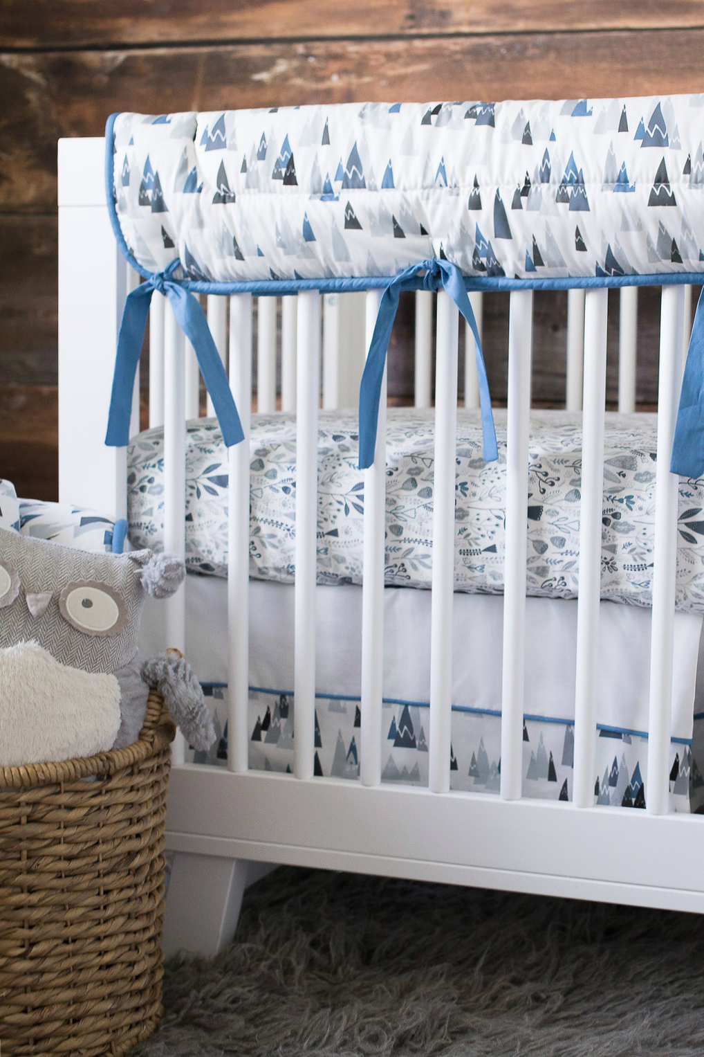 Project Nursery x Carousel Designs Blue Mountains Crib Rail Cover