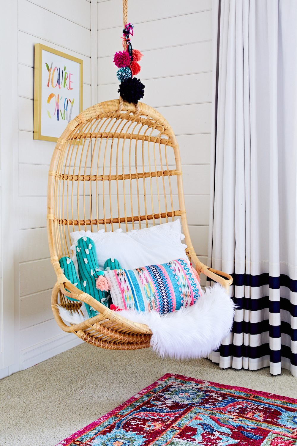 Boho Chic Girl's Room with Hanging Chair