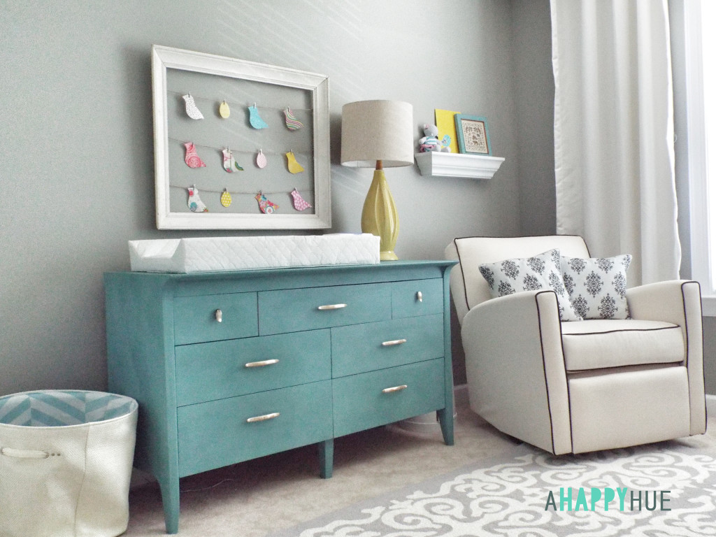 Bird-Themed Nursery Turquoise Dresser/Changing Table in the Nursery - Project Nursery