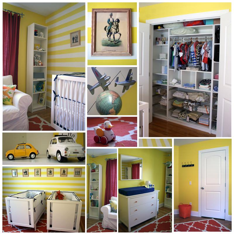 "Natural Baby Nursery Design Reveal: Design Reveal: ""Lemon Twist"" Twin Nursery"