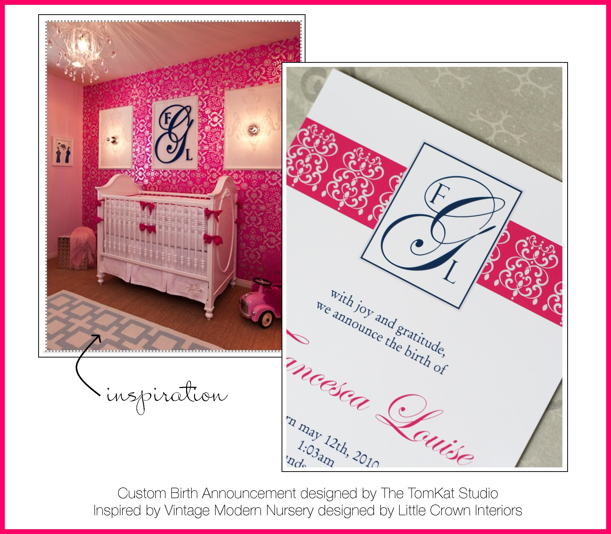 Vintage Inspired Classic Soft Pink Nursery: Custom Birth Announcement Inspired By Vintage Modern Pink
