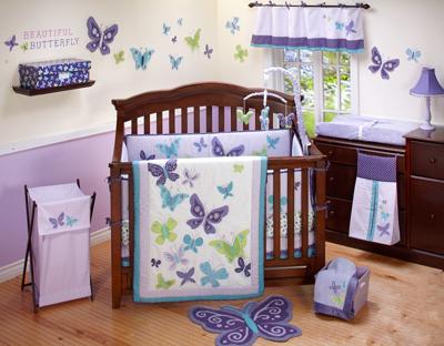 Nojo Purple Butterfly Crib Bedding