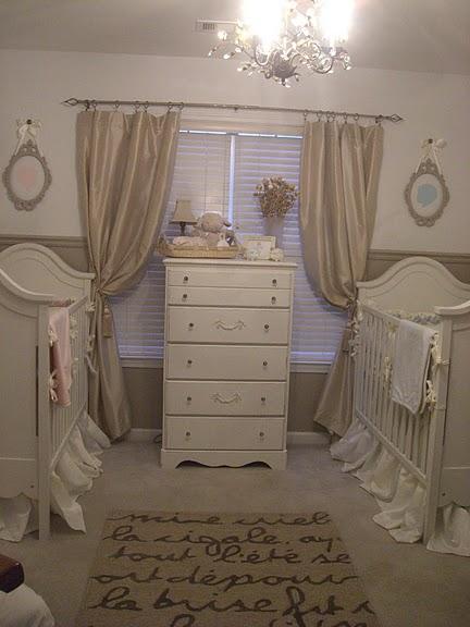 Gender neutral nursery for boy girl twins project nursery - Cortinas vintage dormitorio ...