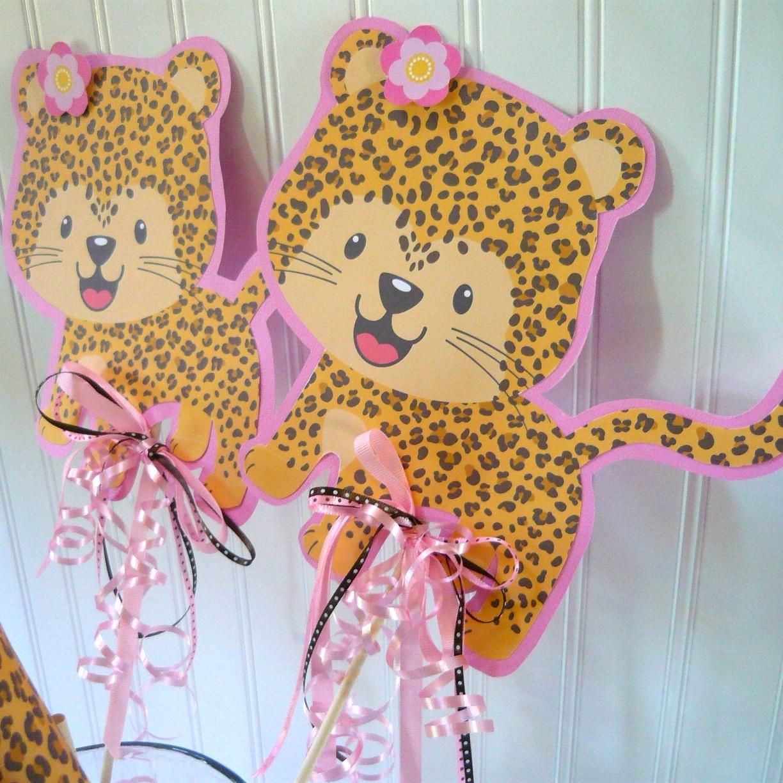 Leopard Print Baby Shower Supplies: Leopard Kitty Cat First Birthday