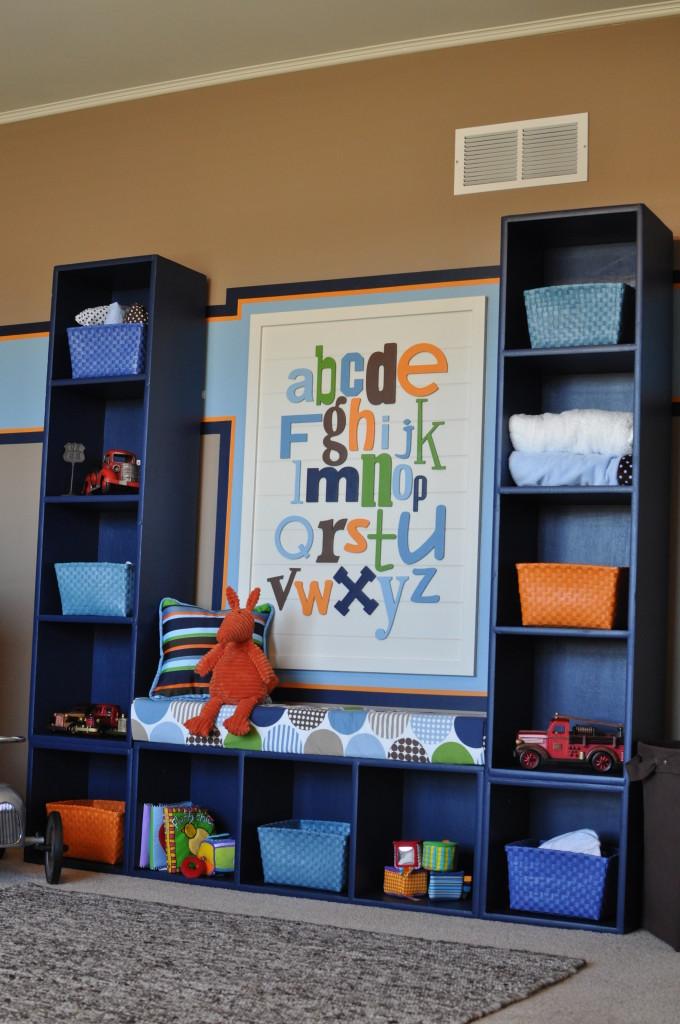 Vintage Truck Nursery Bookshelf and and Polka Dot Bench