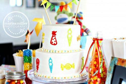 Rainbow and White Cake