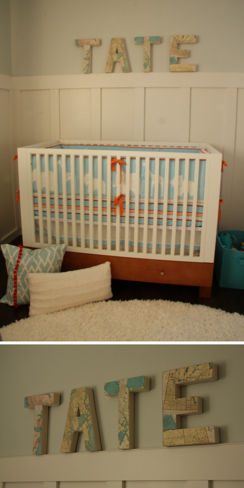 Boy's Nursery Crib and Map Name Art