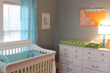 Bright and Modern Orange, Turquoise, Gray Nursery Crib View
