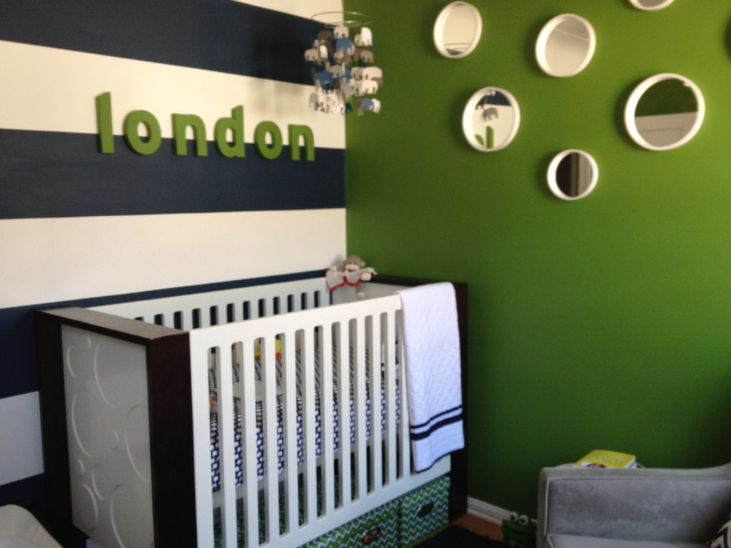 Modern elephants project nursery for Blue and green boys bedroom ideas
