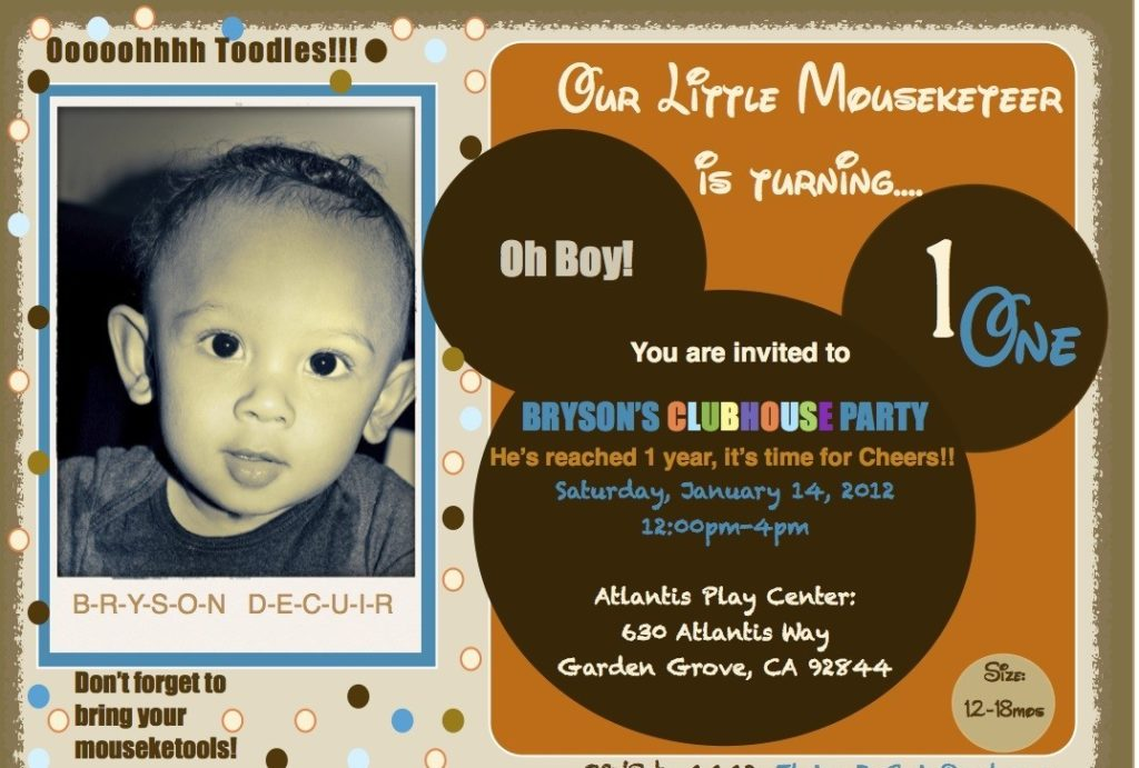 Creative DIY Mickey Mouse Clubhouse 1st Birthday Party Project – Mickey Mouse First Birthday Party Invitations