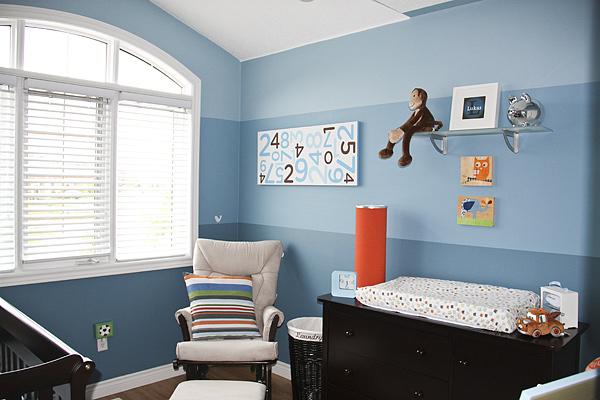 Modern Blue Stripe Nursery For Our Little Monkey Project