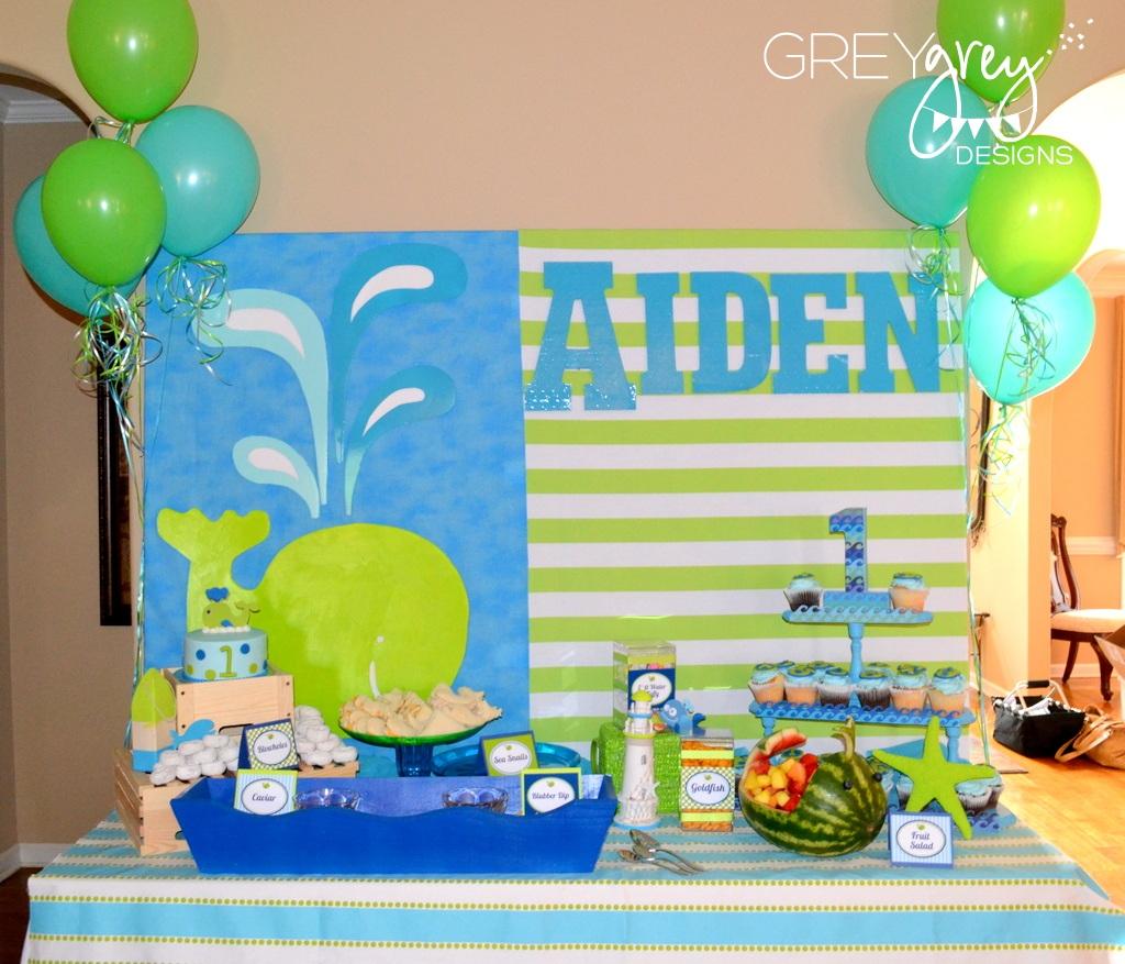 Aiden's Green Whale 1st Birthday