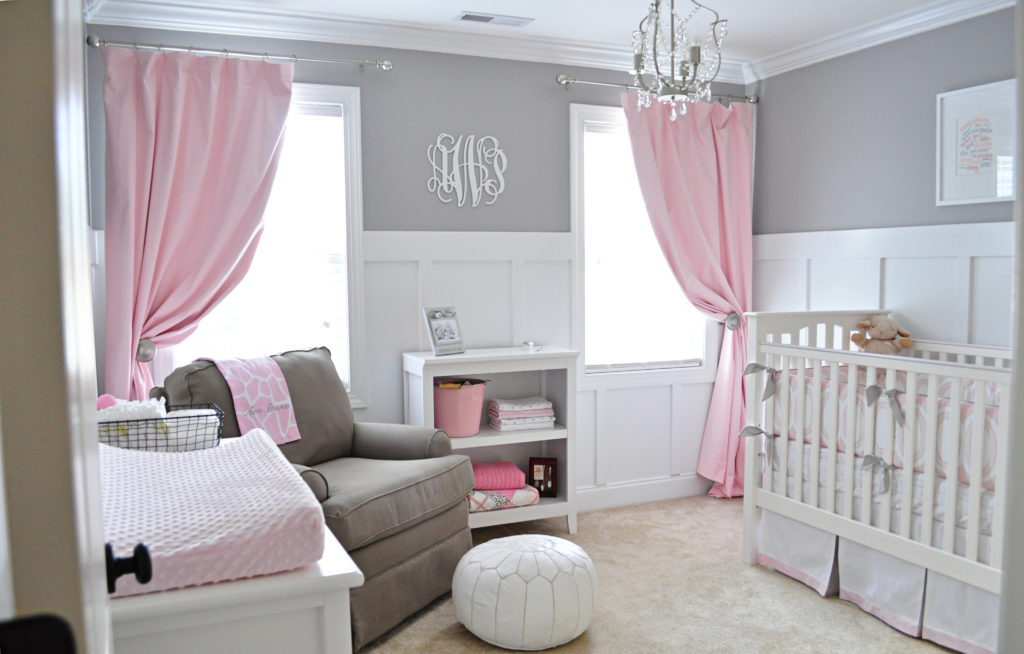 1818 gray and pink nursery
