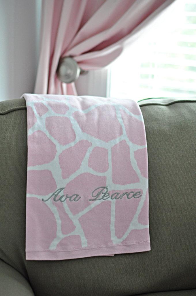 Pink Giraffe Stroller Blanket