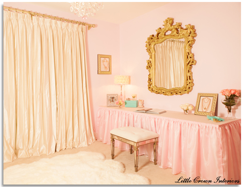 pink and gold vintage nursery