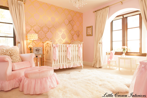 A Little Princess Nursery Design: Design Reveal: Pink, Gold, Ivory Baby Girl's Nursery