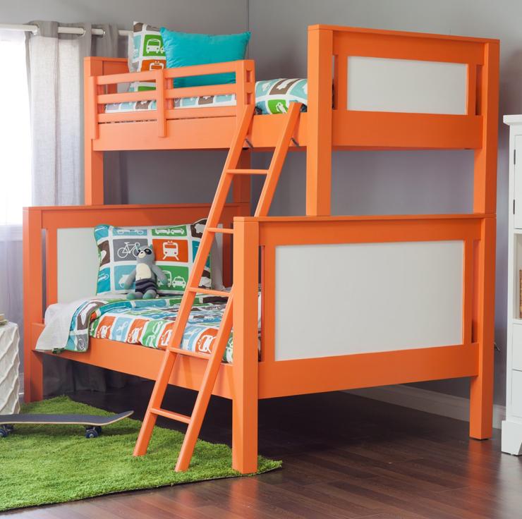 Orange Kids Room: Upholstered Bunk Beds