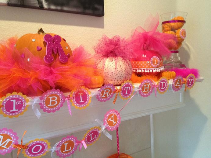 Mollys Pink Orange Pumpkin Birthday Party Project Nursery