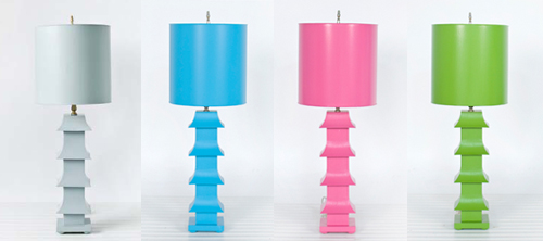 pagoda table lamp in colors