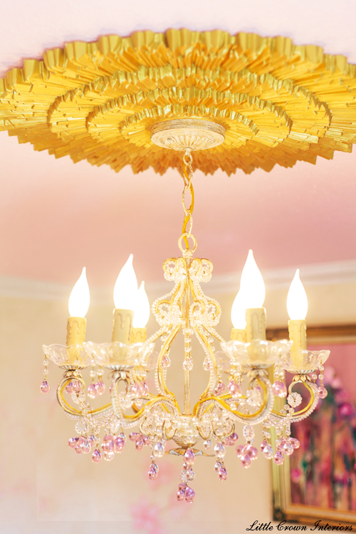 Designer girls nursery ideas with medallion and chandelier