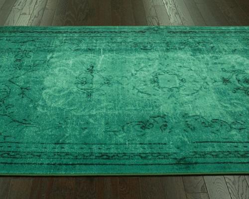 over dye rug in green