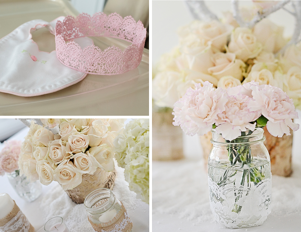 Mason Jars with Lace and Burlap