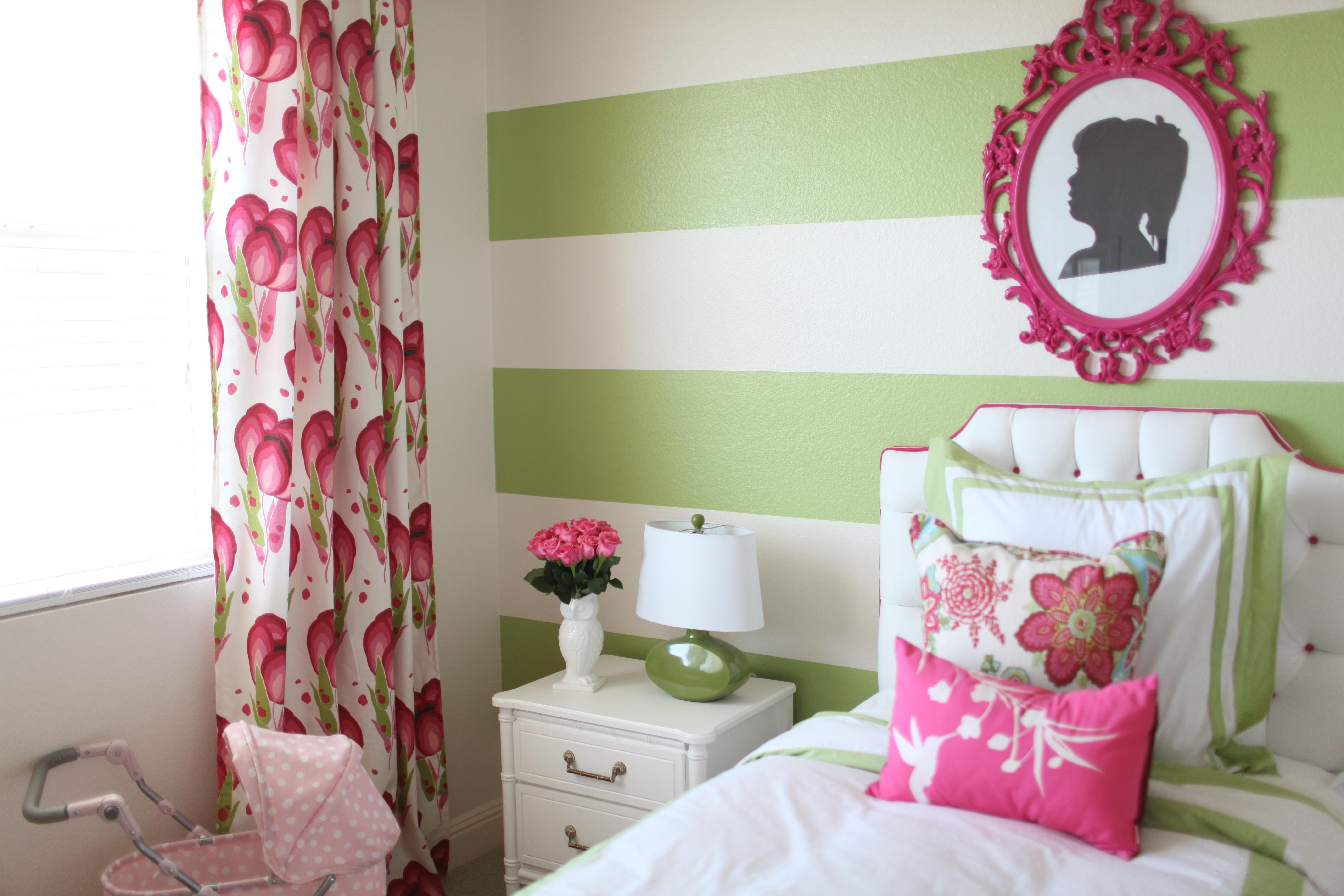 preppy  modern pink  u0026 green girl u0026 39 s room
