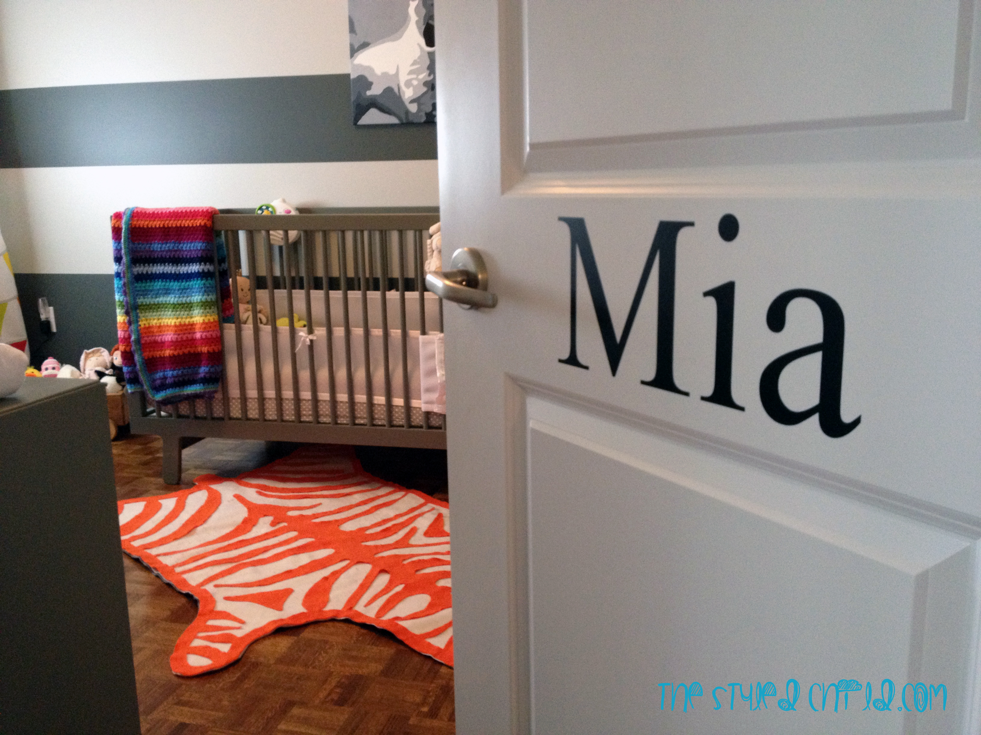Girls Striped Eclectic Nursery Entrance