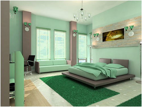 modern bedroom in mint green