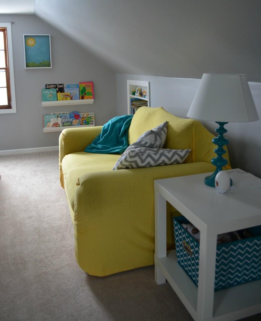 & Baby Boyu0027s Yellow Grey and Teal Attic Nursery - Project Nursery