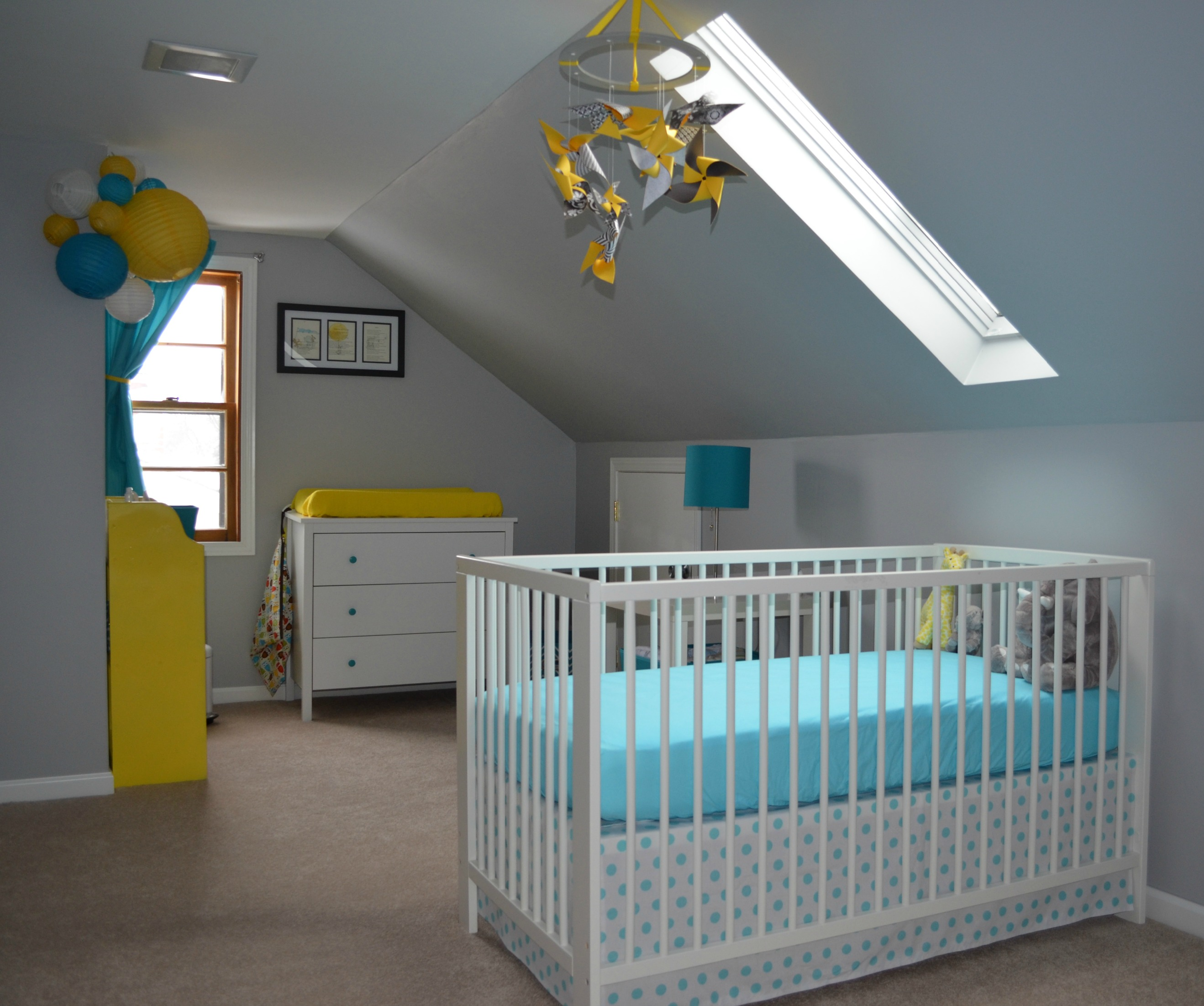 Baby Boy S Yellow Grey And Teal Attic Nursery Project