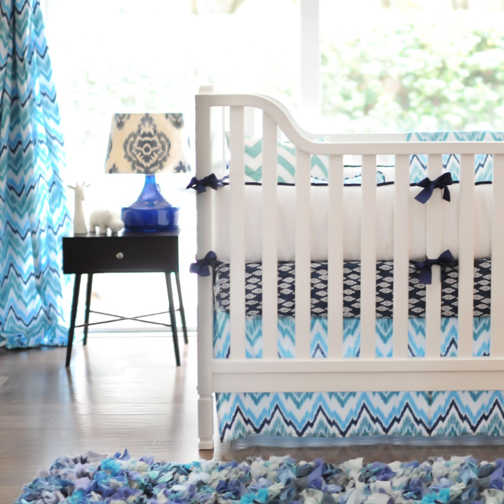 New Arrivals Blue Ikat Crib Set