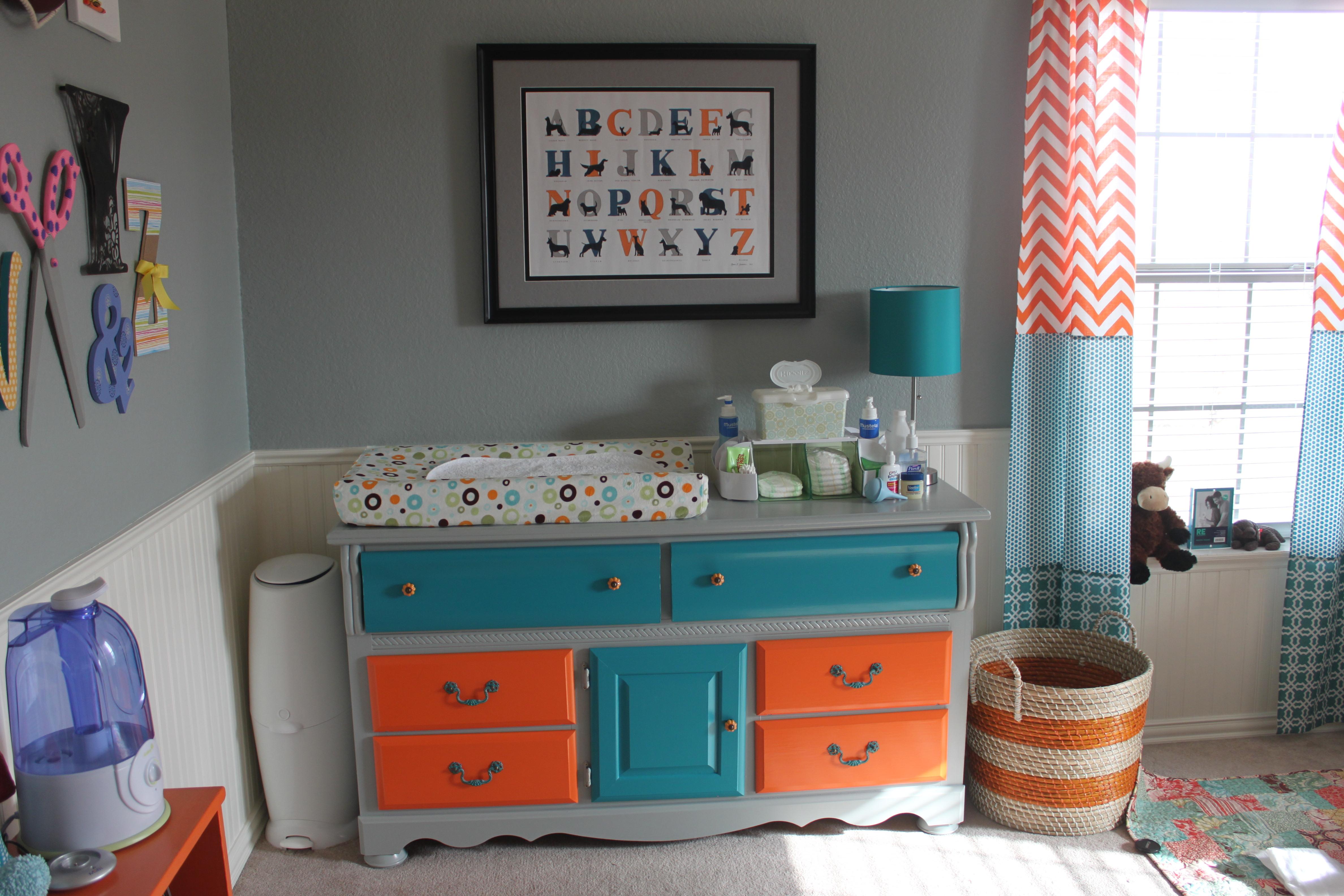 Orange and teal nursery project nursery - Orange and teal decor ...