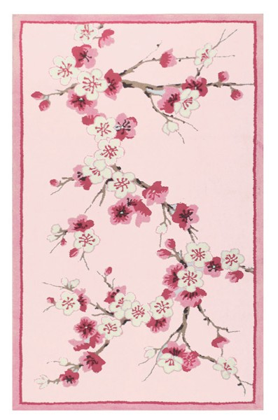 Sakura Cherry Blossom Area Rug in Pink