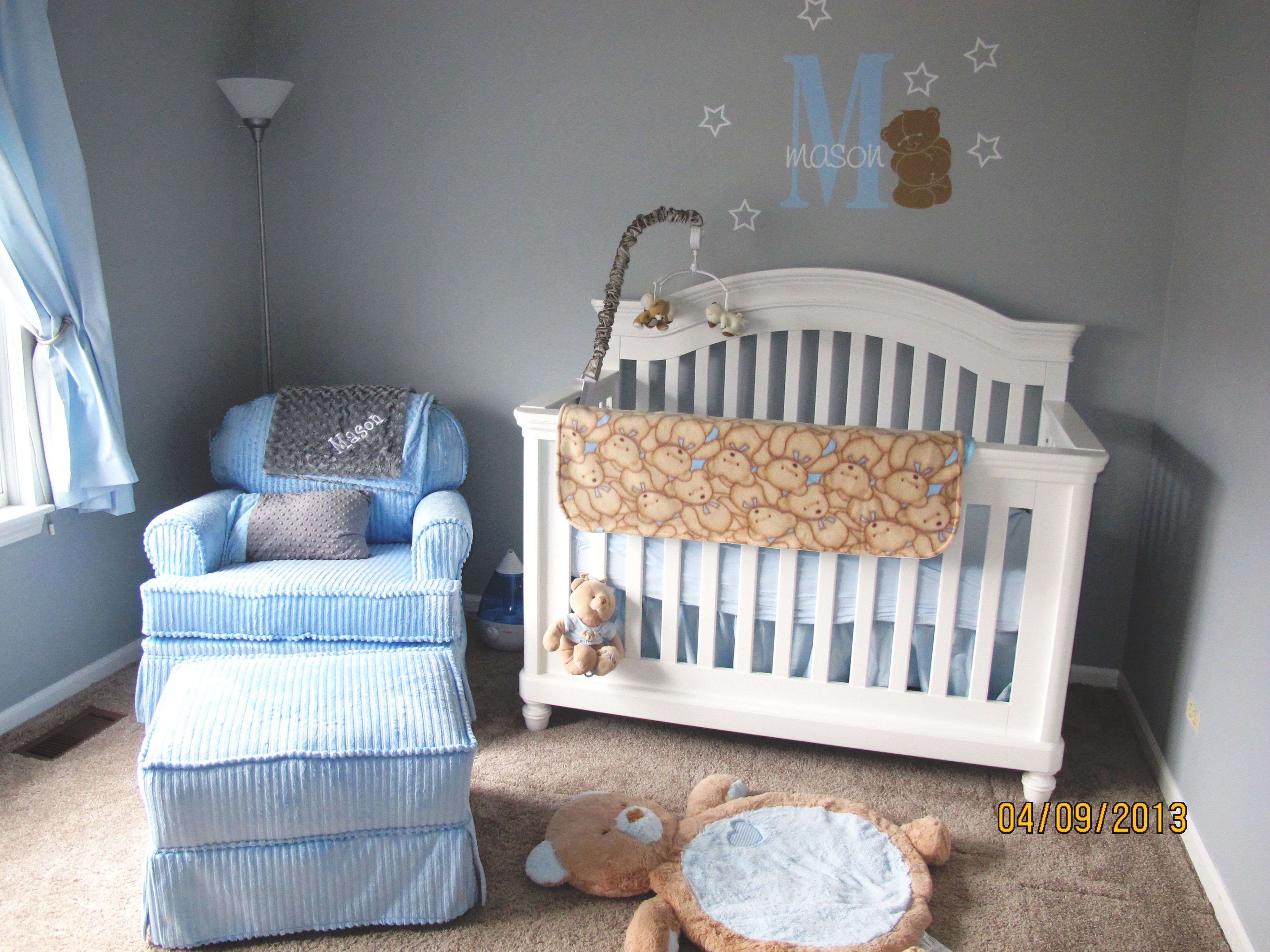 Grey Blue Clic Teddy Bear Nursery