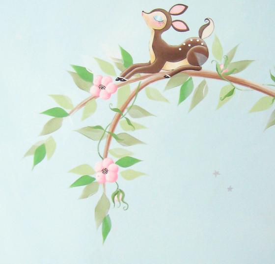 Sam Simon Sakura Cherry Blossom Deer Nursery Art
