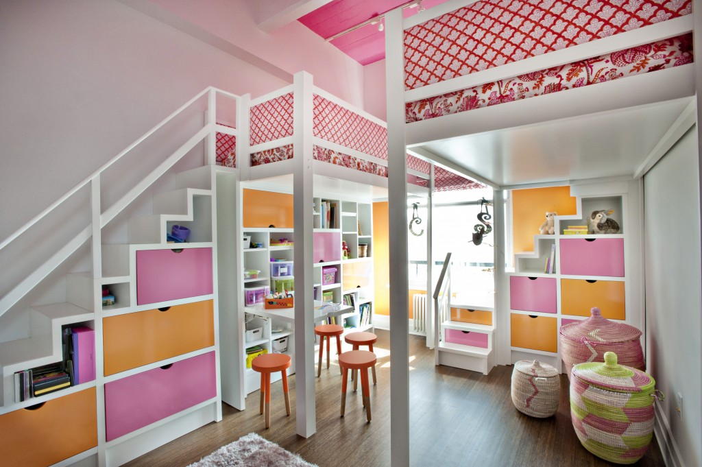 6 6 Lofted Beds In Girls Nyc Pink And Orange Shared Room