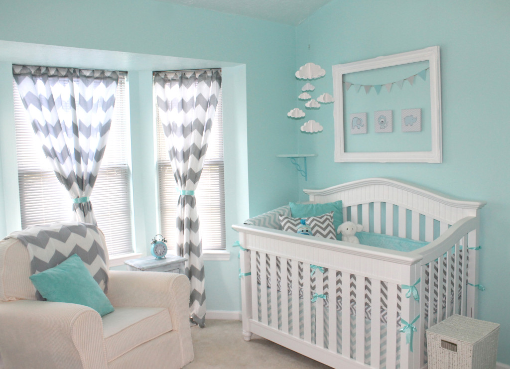 Aqua And Gray Chevron Nursery Project Nursery