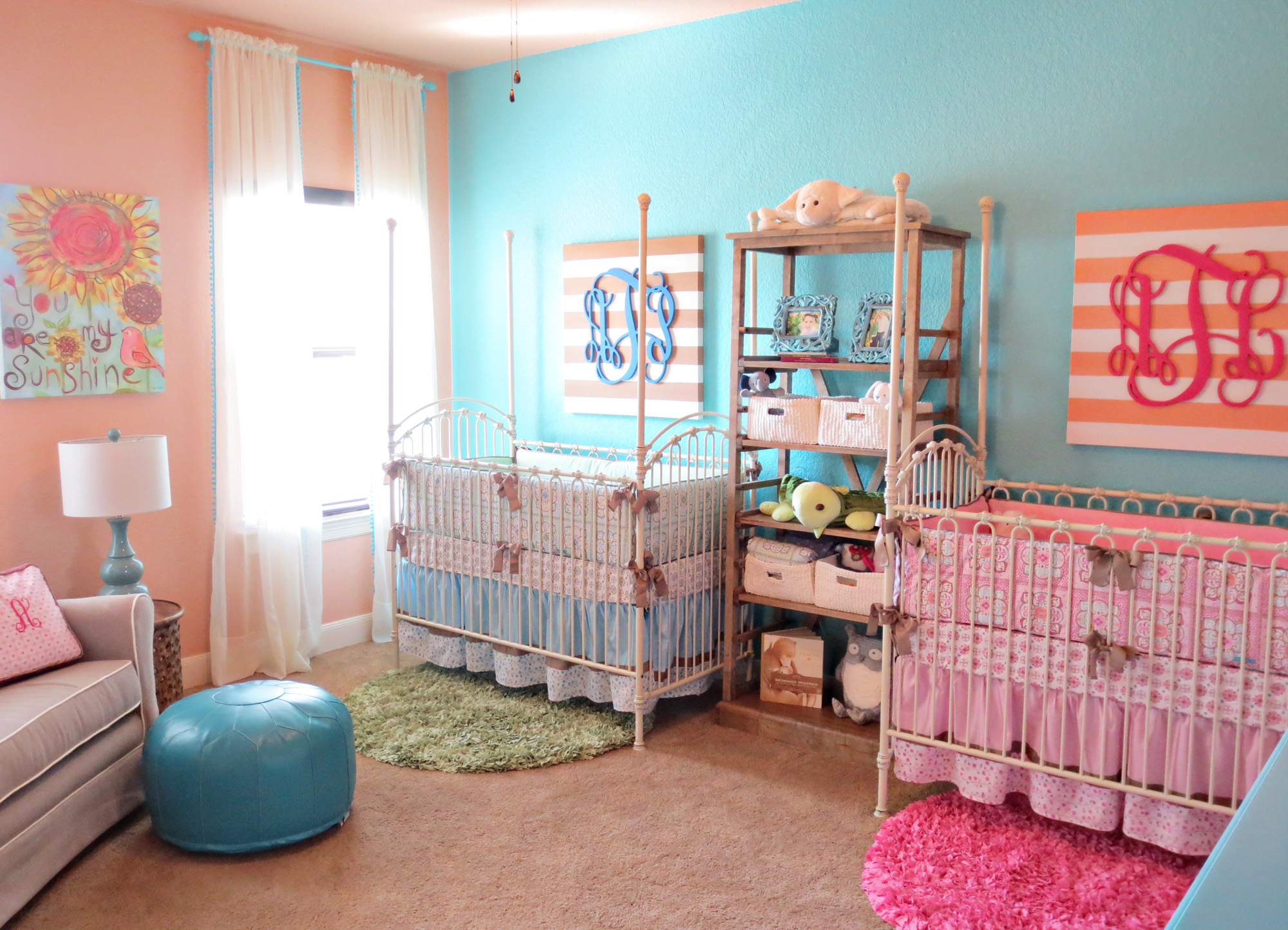 Coral Teal Boy Girl Twin Nursery