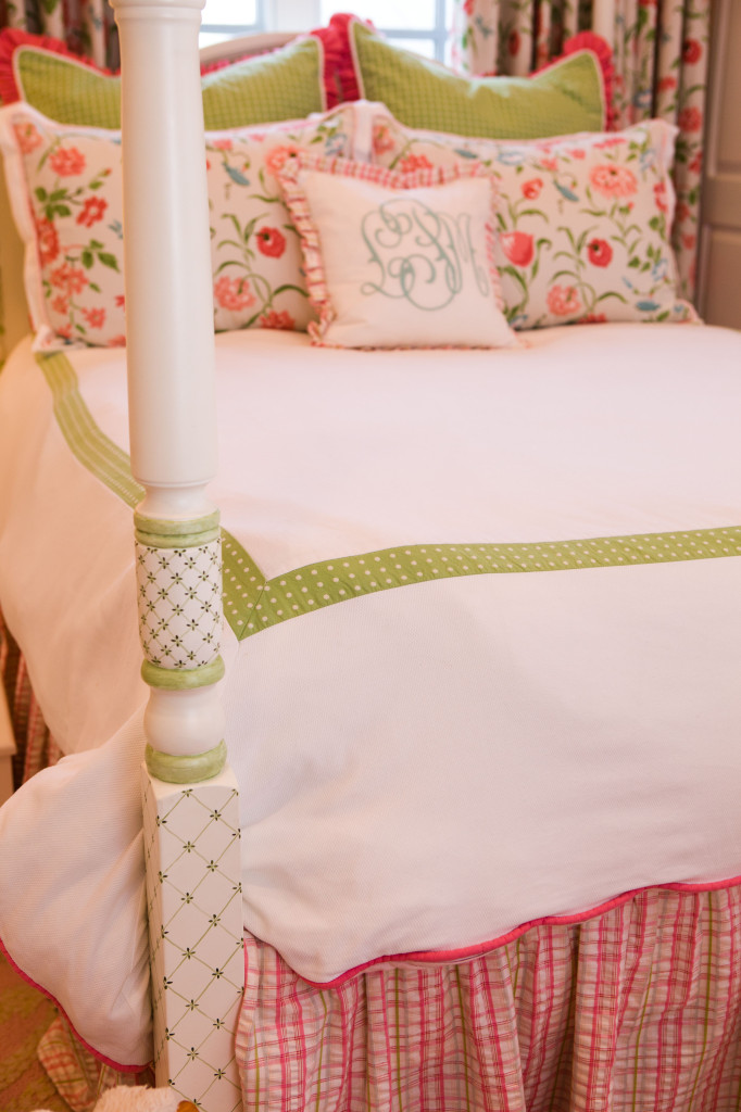 Seersucker Plaid and Floral Pink and Green Girl's Bedding