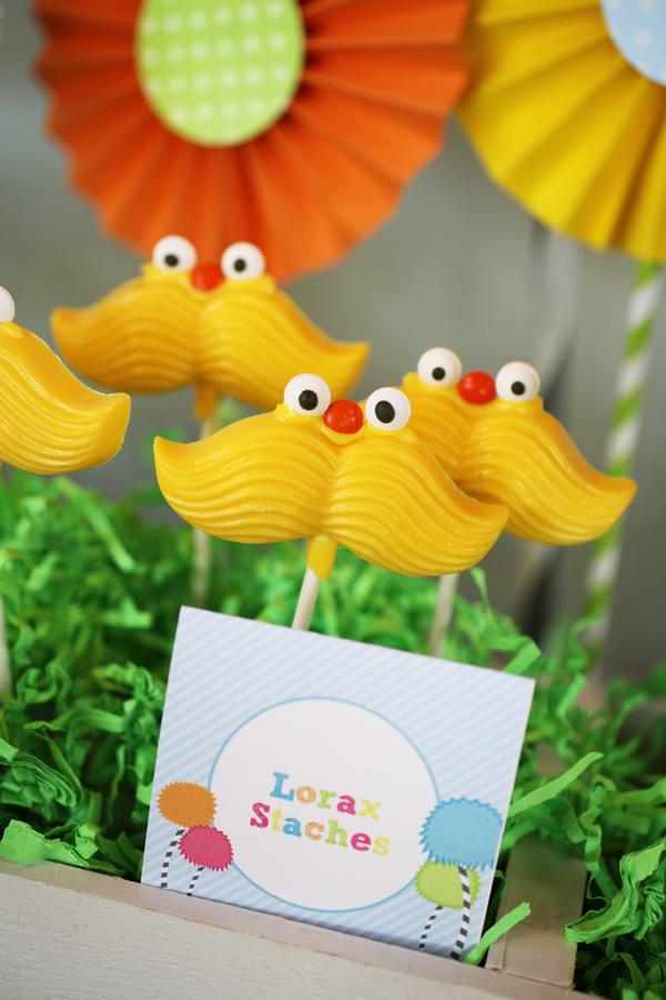 Lorax Theme Birthday Party - Mustache Lollipops
