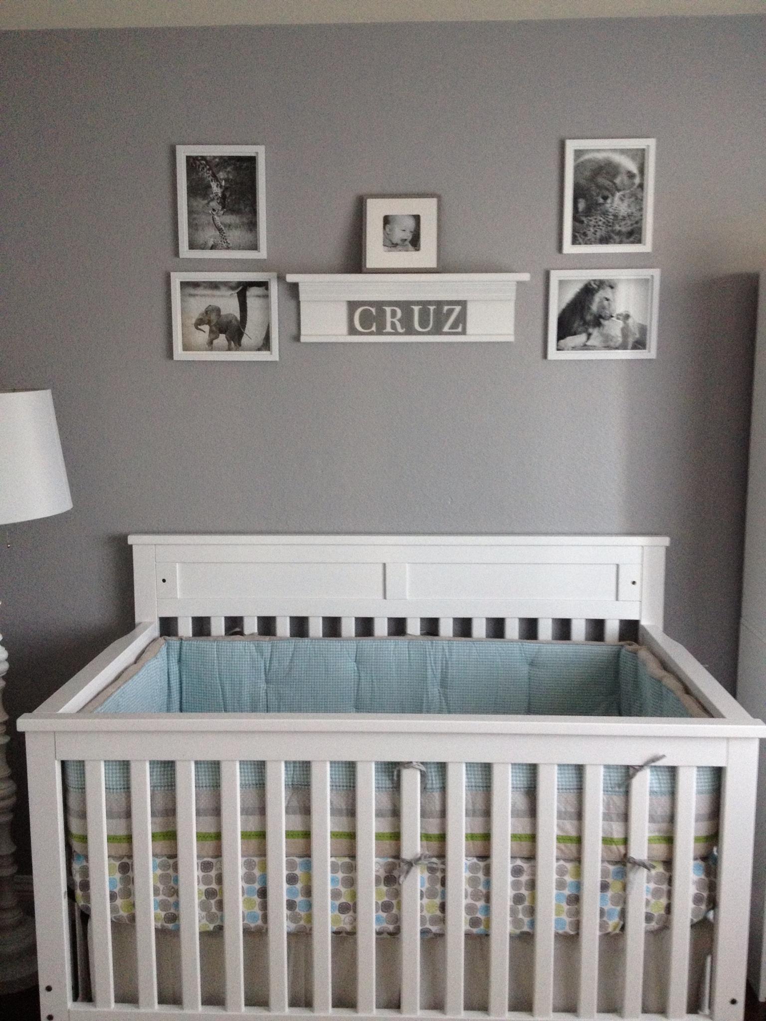 Gray and White Nursery Boy Nursery White Crib