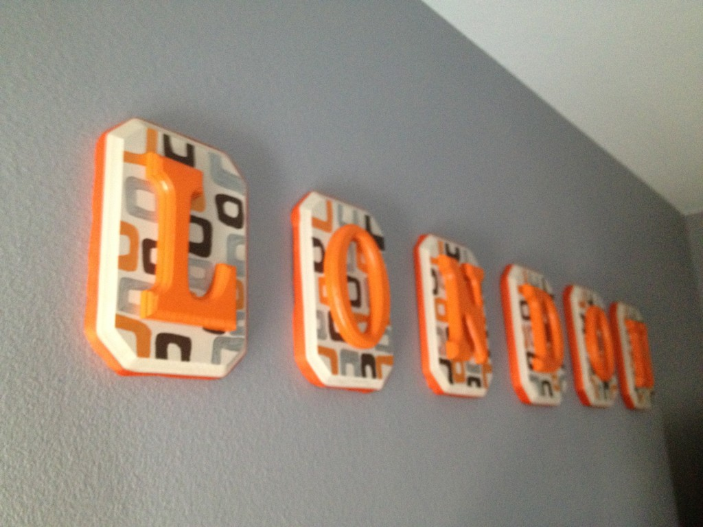 Boy Gray and Orange Nursery Monogrammed Wall