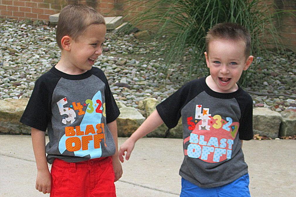 Blastoff Brothers Shared Birthday Party Matching T-Shirts