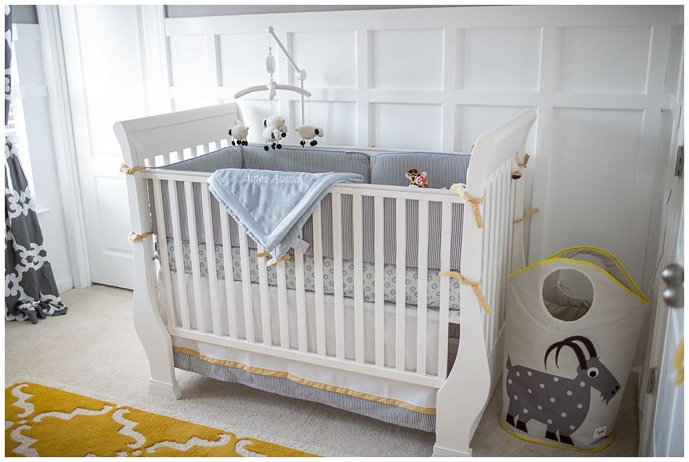 Gray and Yellow Preppy Nursery Crib