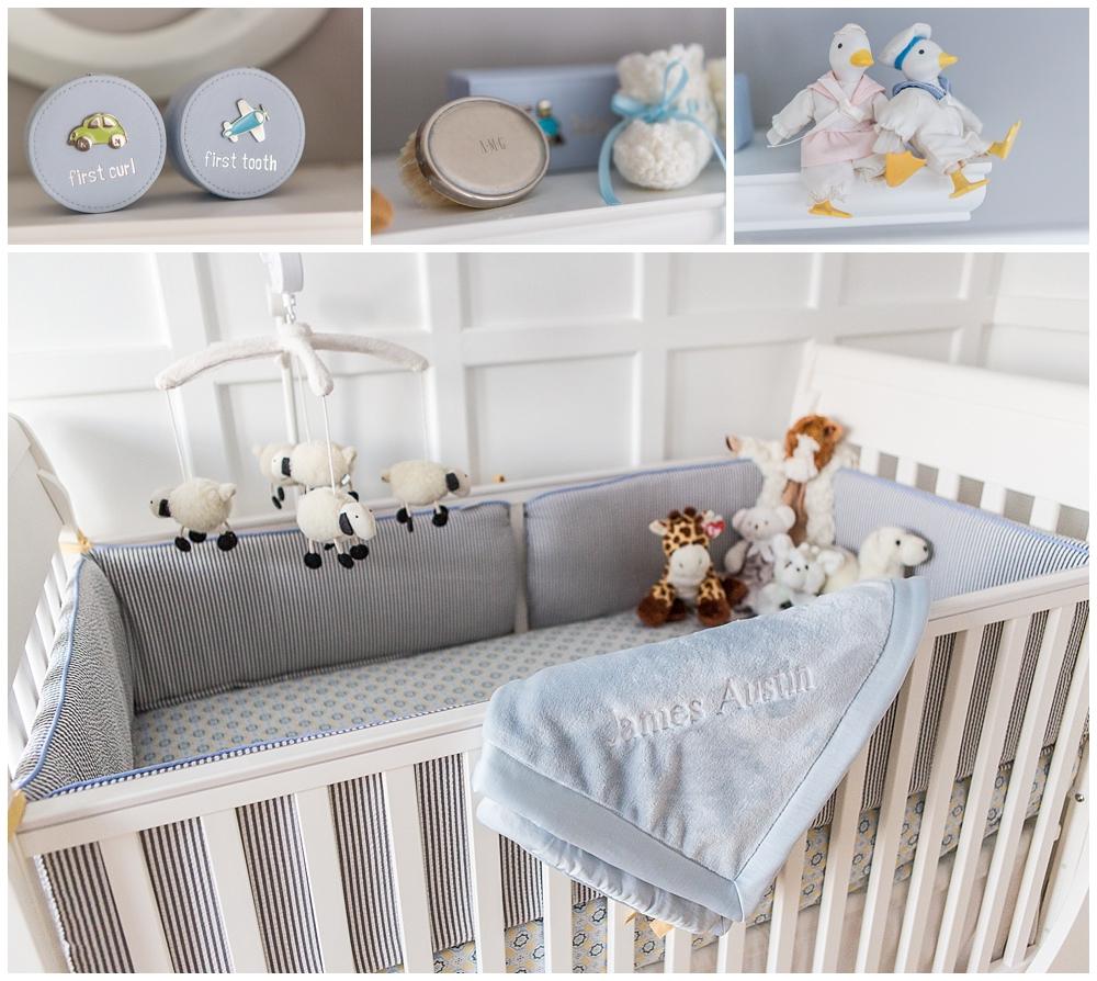 Gray and Yellow Preppy Nursery Crib Details