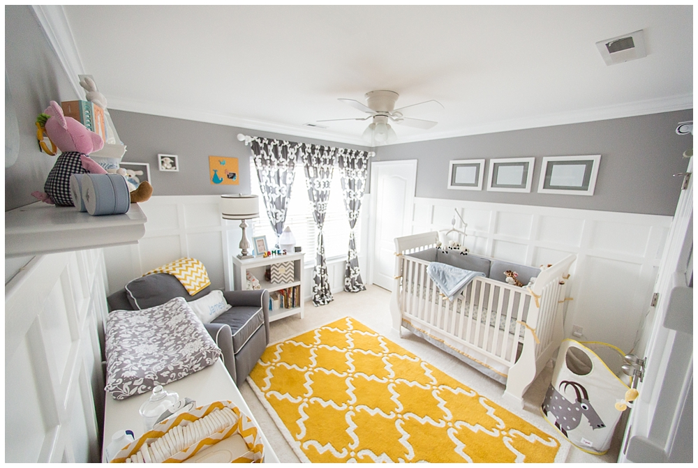 Gray and Yellow Preppy Nursery Whole Room